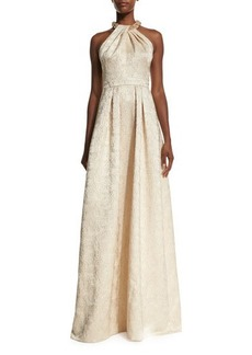 Carmen Marc Valvo Beaded-Neck Jacquard Ball Gown