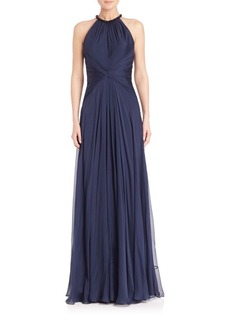 Carmen Marc Valvo Beaded-Neck Silk Chiffon Gown