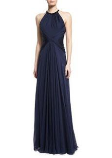 Carmen Marc Valvo Beaded-Neck Sleeveless Flowy Silk Gown