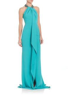 Carmen Marc Valvo Beaded Neck Toga Gown