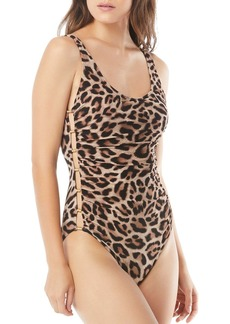 Carmen Marc Valvo Beaded Peek-A-Boo One Piece Swimsuit