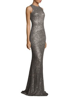 Carmen Marc Valvo Beaded Sequin Gown