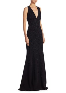Beaded V-Neck Gown