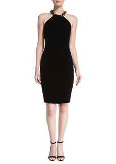 Carmen Marc Valvo Beaded Velvet Halter Cocktail Dress