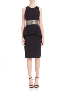 Carmen Marc Valvo Beaded Waist Peplum Dress