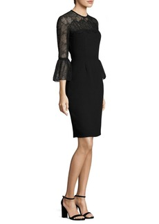 Carmen Marc Valvo Bell Sleeve Lace & Crepe Dress