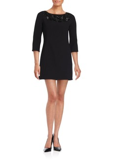 Carmen Marc Valvo Boatneck Elbow-Length Dress