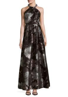 Carmen Marc Valvo Brocade Floral-Print Halterneck Dress