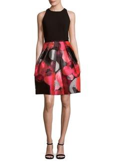 Carmen Marc Valvo Bubble Print Fit-&-Flare Dress