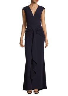 Carmen Marc Valvo Cap Sleeve Floor-Length Gown