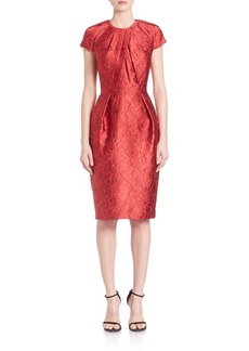 Carmen Marc Valvo Cap Sleeve Floral Jacquard Dress