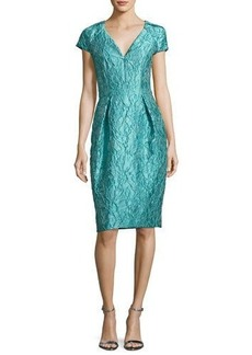 Carmen Marc Valvo Cap-Sleeve Jacquard Cocktail Dress