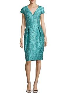 Carmen Marc Valvo Cap-Sleeve Jacquard Cocktail Dress