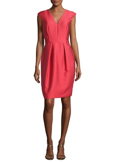 Carmen Marc Valvo Cap-Sleeve Satin Jacquard Cocktail Dress