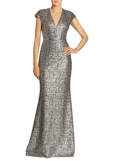 Carmen Marc Valvo Cap Sleeve Sequin Gown
