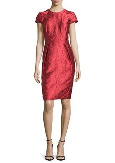 Carmen Marc Valvo Cap-Sleeve Structured Floral Sheath Dress