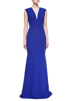Carmen Marc Valvo Cap-Sleeve V-Neck Tailored Gown