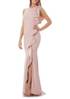 Carmen Marc Valvo Cascade Ruffle Gown