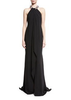 Carmen Marc Valvo Chiffon Toga Gown
