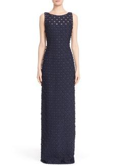 Carmen Marc Valvo Circle Appliqué Sleeveless Column Gown