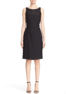 Carmen Marc Valvo Circle Appliqué Sleeveless Sheath Dress