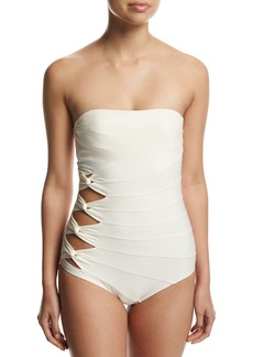 Carmen Marc Valvo Classic Weave Bandeau One-Piece Swimsuit