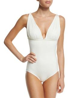 Carmen Marc Valvo Classic Weave Draped One-Piece Swimsuit