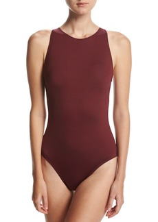 Carmen Marc Valvo Classic Weave High-Neck One-Piece Swimsuit
