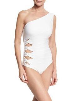 Carmen Marc Valvo Classic Weave One-Shoulder One-Piece Swimsuit
