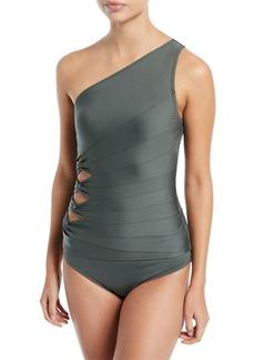 Carmen Marc Valvo Coastal Twist Solids One-Shoulder Tankini Swim Top