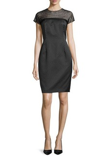 Carmen Marc Valvo Cocktail Dress with Beaded Illusion Neckline
