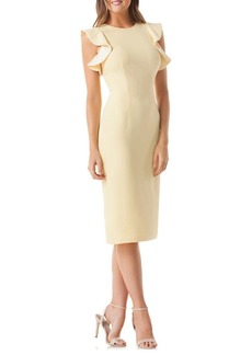 Carmen Marc Valvo Cocktail Ruffled Sheath Dress