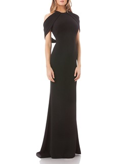 Carmen Marc Valvo Cold-Shoulder Crepe Gown