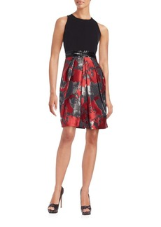 Carmen Marc Valvo Collection Double Face Top Fit-And-Flare Dress