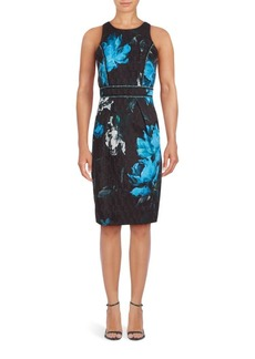 Carmen Marc Valvo Cotton-Blend Floral Dress