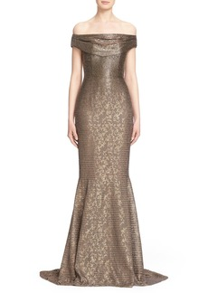 Carmen Marc Valvo Couture Beaded Off the Shoulder Lace Mermaid Gown