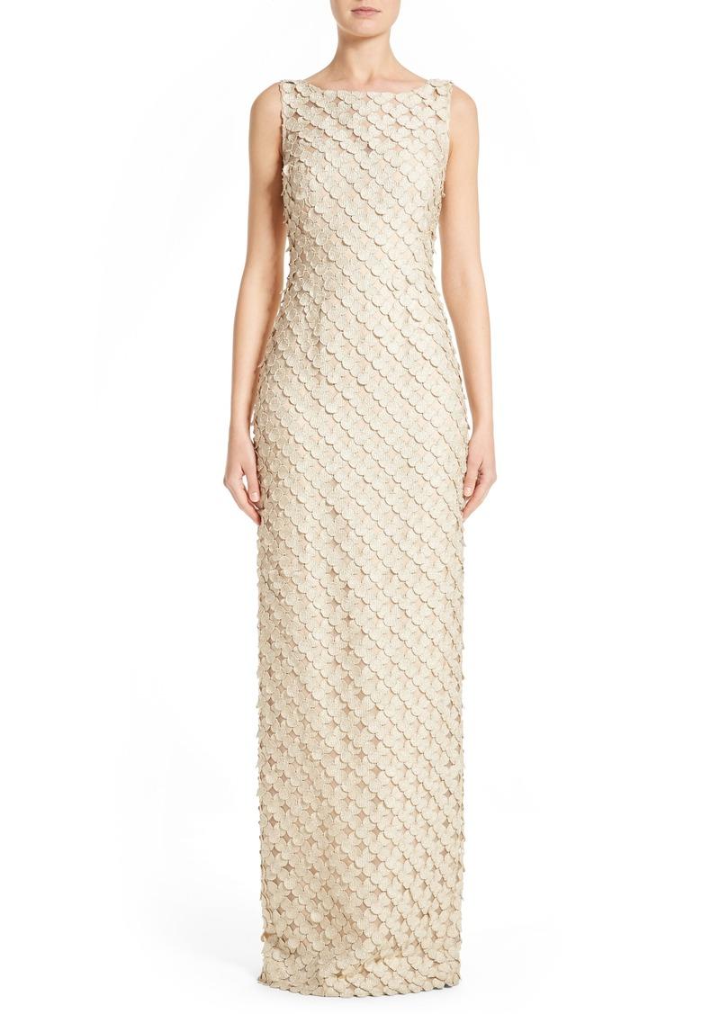 Carmen Marc Valvo Couture Circle Appliqué Sleeveless Column Gown