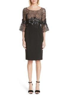 Carmen Marc Valvo Couture Geometric Lace Cocktail Dress
