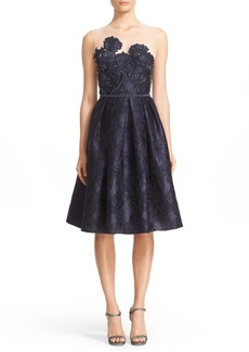 Carmen Marc Valvo Couture Illusion Yoke Embroidered Jacquard Cocktail Dress