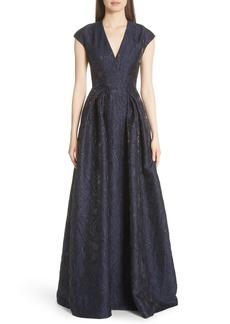 Carmen Marc Valvo Couture Metallic Floral Jacquard Ballgown