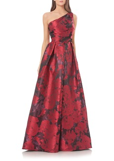 Carmen Marc Valvo Couture Print One-Shoulder Ballgown