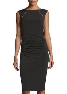 Carmen Marc Valvo Couture Zipper Detail Sheath Dress