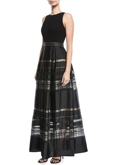 Carmen Marc Valvo Crepe Cutaway Stripe Evening Gown