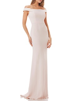 Carmen Marc Valvo Crepe Gown