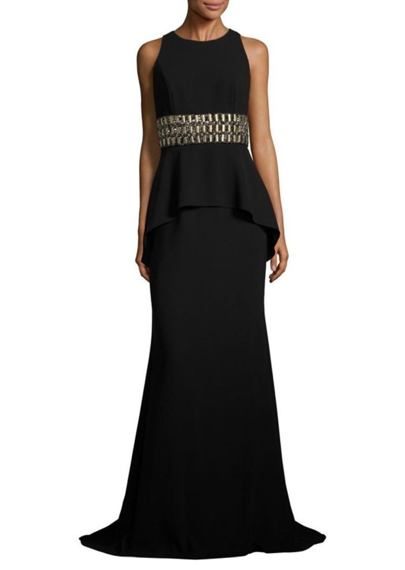 Carmen Marc Valvo Carmen Marc Valvo Crepe Peplum Gown | Dresses