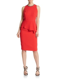 Carmen Marc Valvo Crepe Peplum Sheath Dress