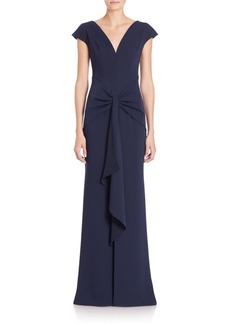 Carmen Marc Valvo Crepe Ruffle-Front Gown