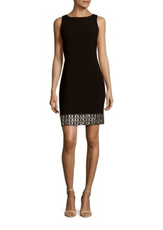 Carmen Marc Valvo Crepe Sheath Sequined Hem Dress