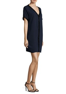 Carmen Marc Valvo Crepe V-Neck Herringbone Dress
