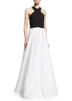 Carmen Marc Valvo Crisscross-Halter Colorblock Gown